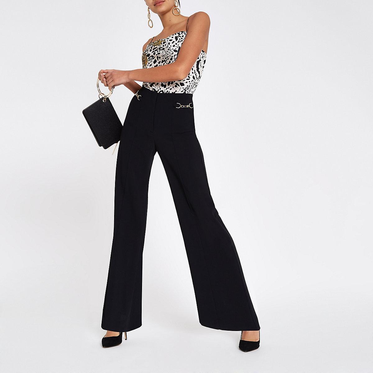 Black snaffle trim wide leg trousers