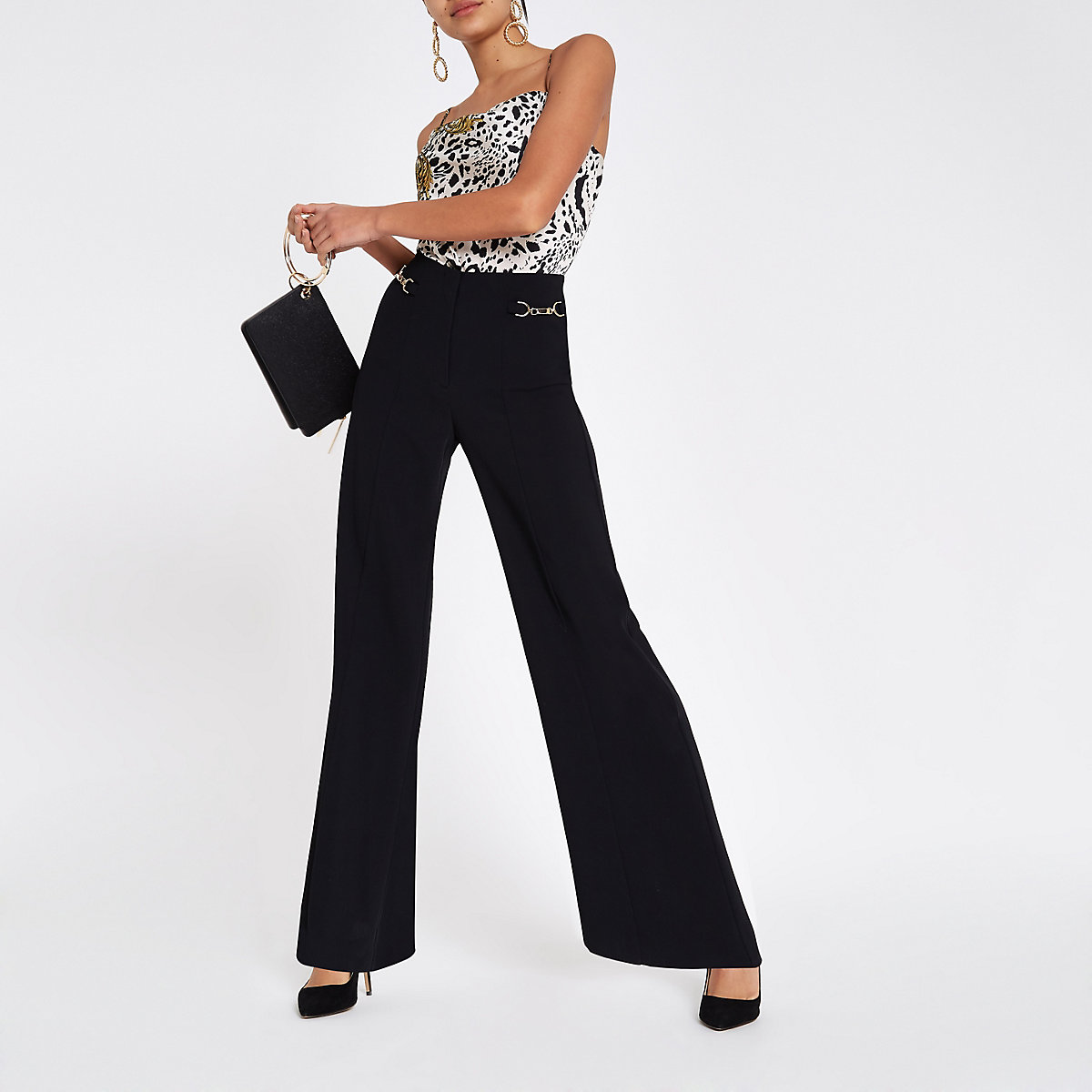 Black snaffle trim wide leg pants