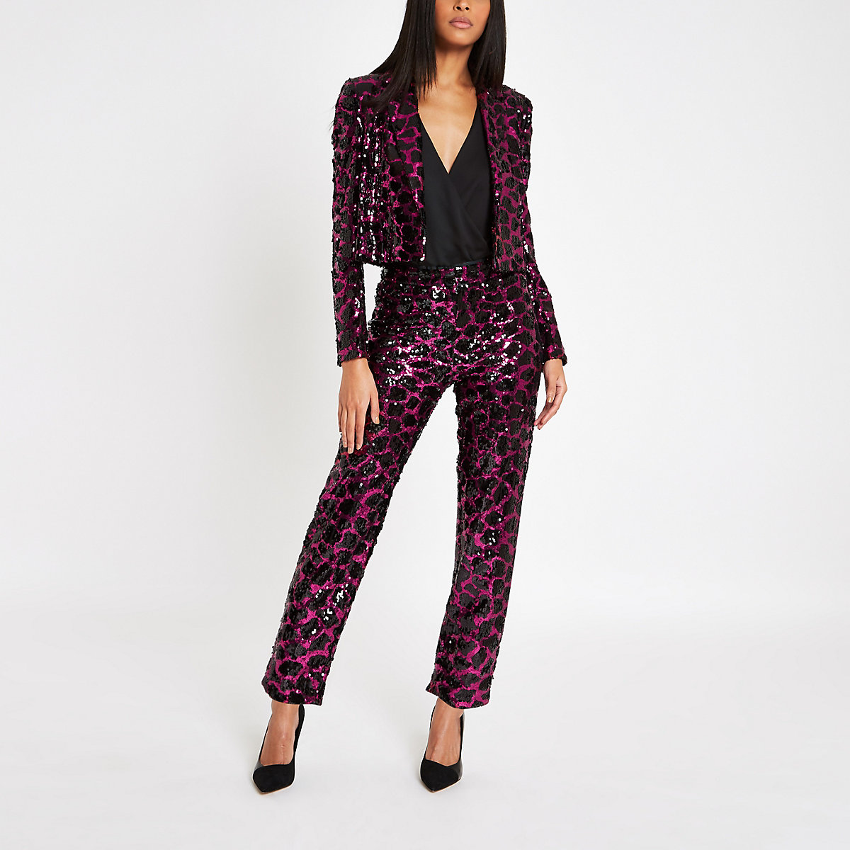 Pink sequin print cigarette trousers