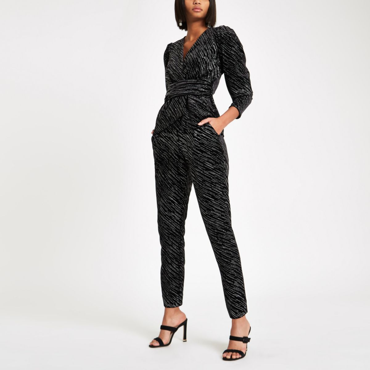 Black velvet glitter tie belted trousers
