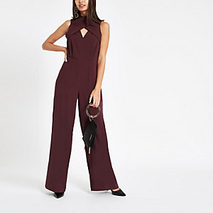 Burgundy wrap front high neck jumpsuit