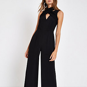 Black wrap front high neck jumpsuit