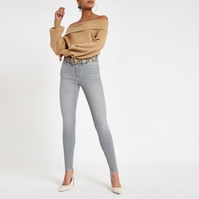 Grey Ri Mid Rise Molly Jeggings by River Island