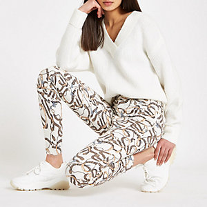 Molly – Jeggings in Creme mit Print