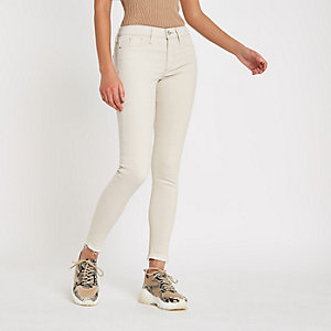 Molly - Crème jegging met halfhoge taille