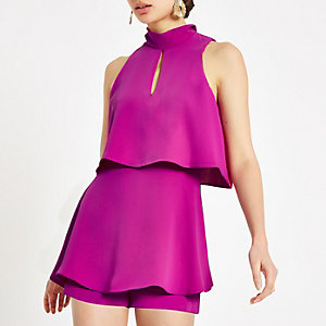 Bright purple high neck tiered frill playsuit
