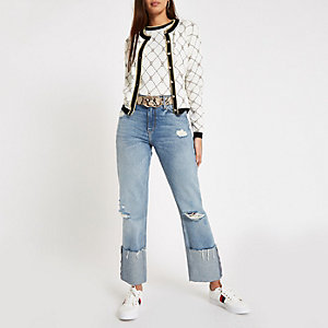 Light blue RI boyfriend ripped jeans