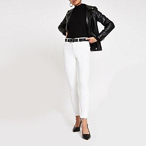 Amelie - Crème skinny jeans met halfhoge taille