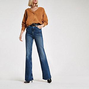 Donkerblauwe wijduitlopende jeans met RI-logo