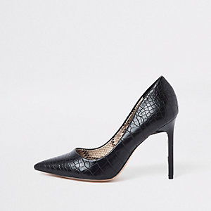 Black croc embossed skinny heel court shoes