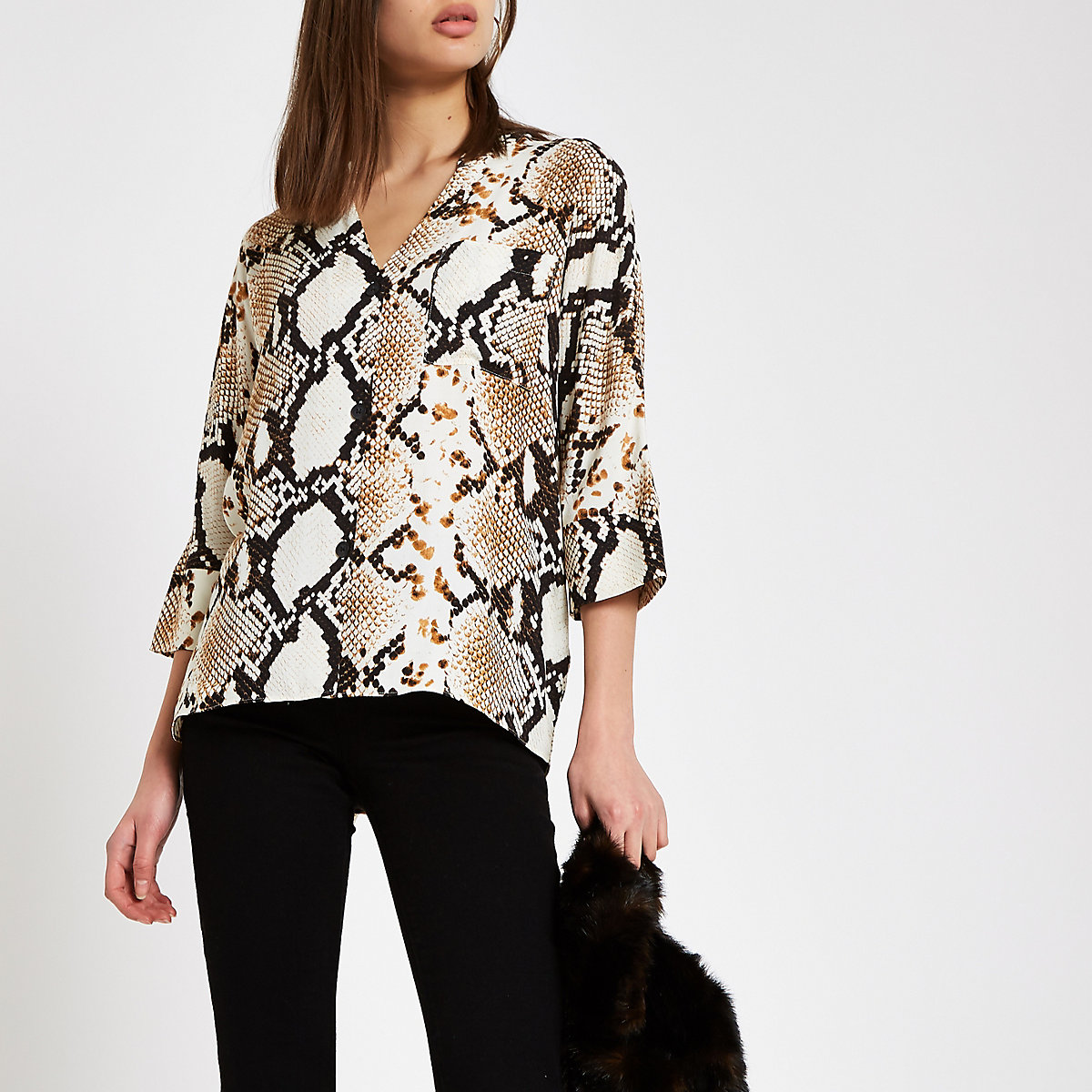 Brown snake print oversized button blouse