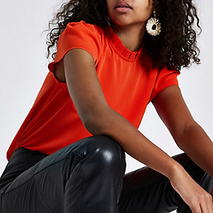 Orange frill neck shell top