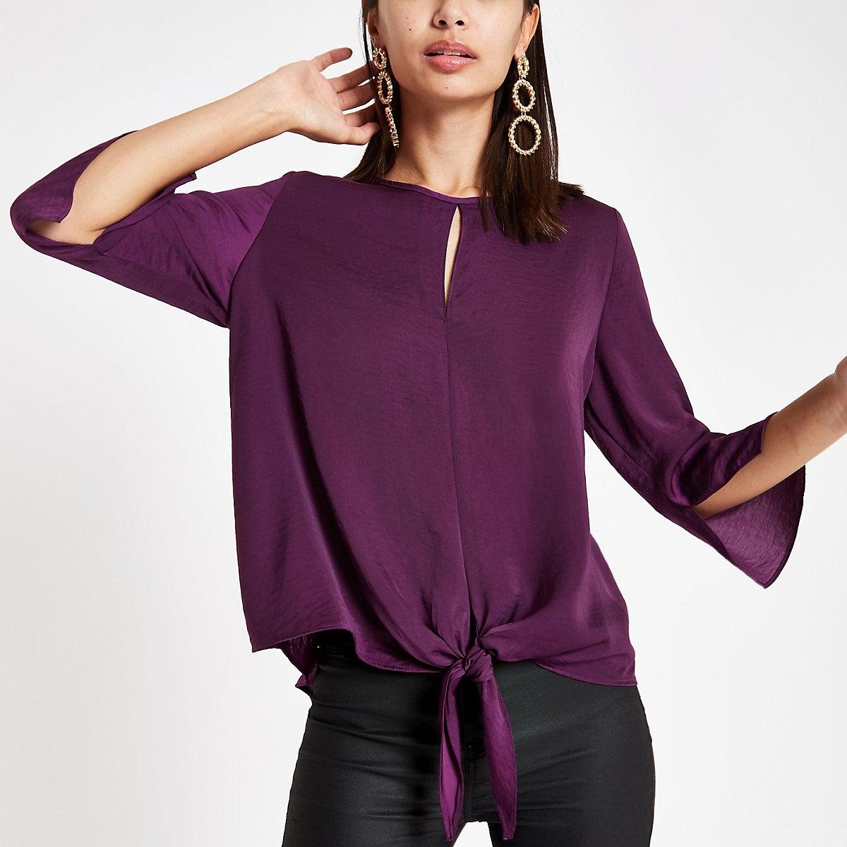 Dark purple tie front blouse