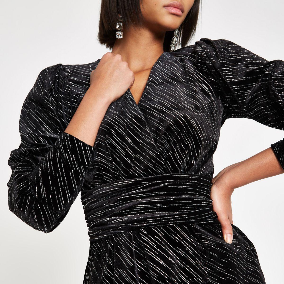 Black glitter wrap front velvet top