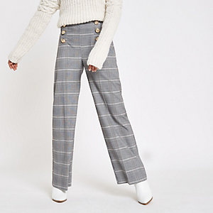 Petite grey check wide leg trousers