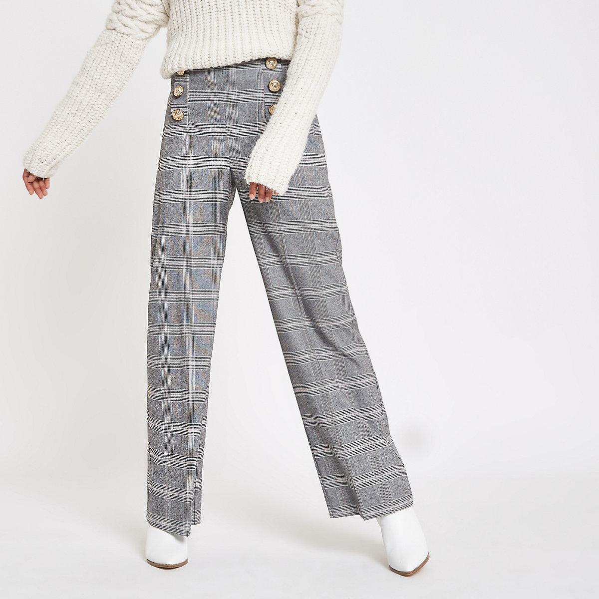 Petite grey check wide leg pants