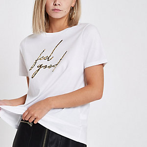 Petite white 'feel good' print T-shirt