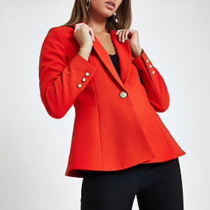 Red fitted peplum hem blazer