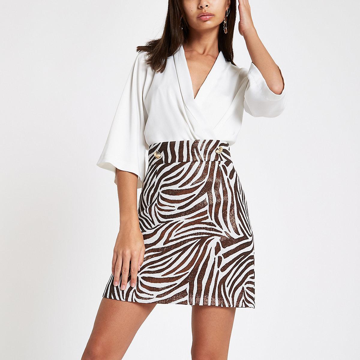 Gold metallic zebra print mini skirt
