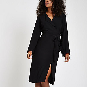 Black tie waist midi dress