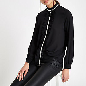 Black pearl trim frill blouse