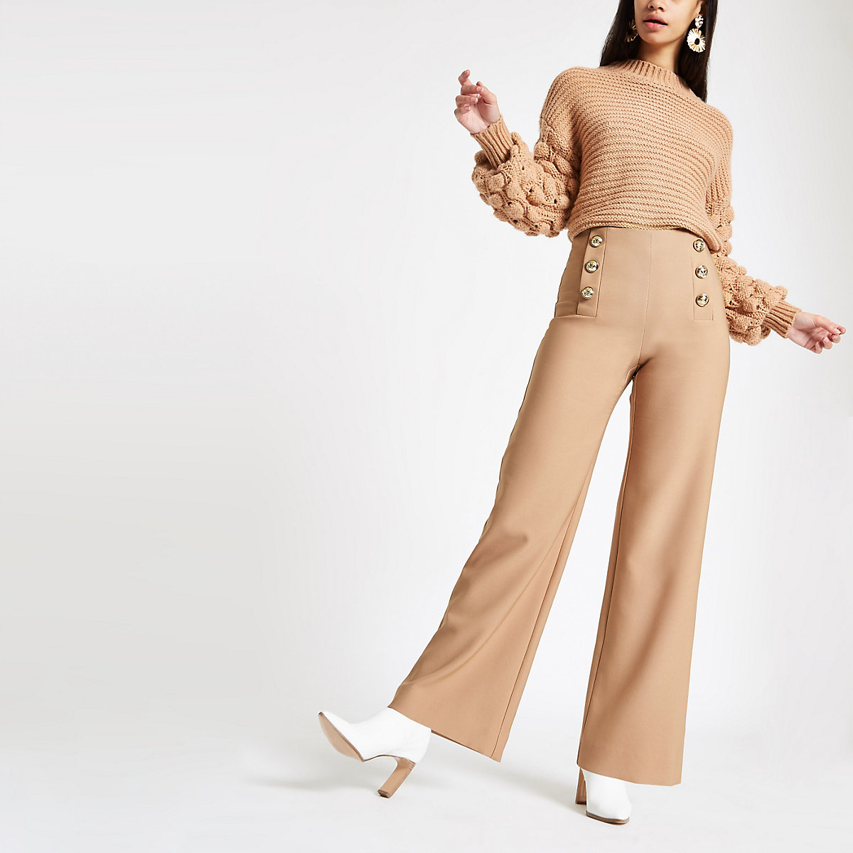 Tan wide leg button detail trousers