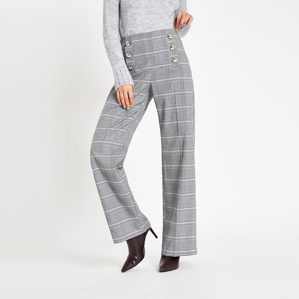 Grey check button wide leg trousers