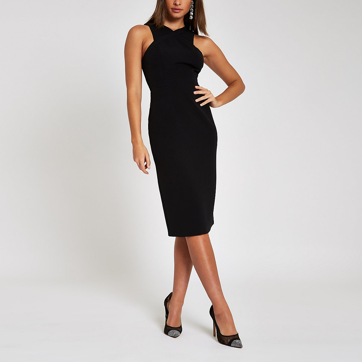 Black cross high neck bodycon midi dress