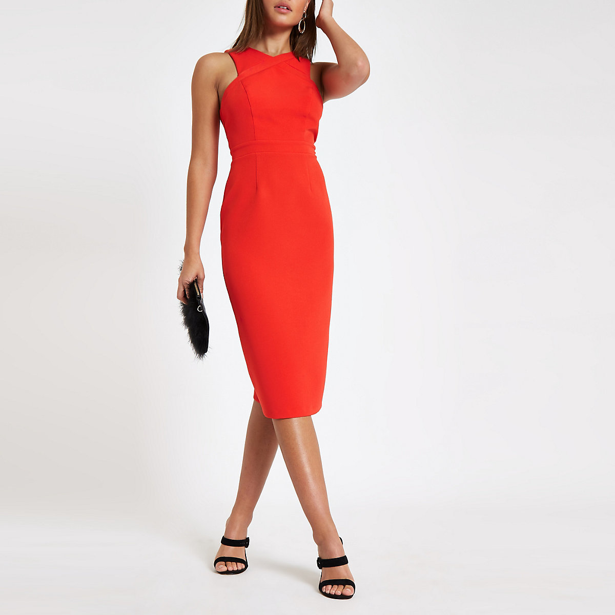 Rode gekruiste hoogsluitende bodyconmidi-jurk