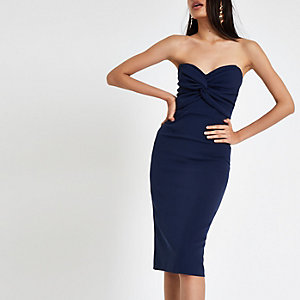 Marineblaues Bandeau-Bodycon-Kleid