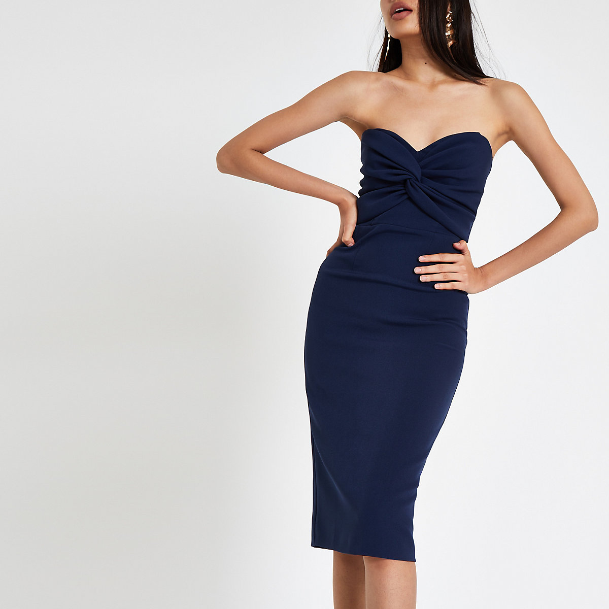 Navy twist front bandeau maxi bodycon dress