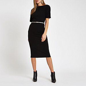 Black boat neck belted bodycon midi dress
