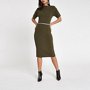 Dunkelgrünes Bodycon-Kleid