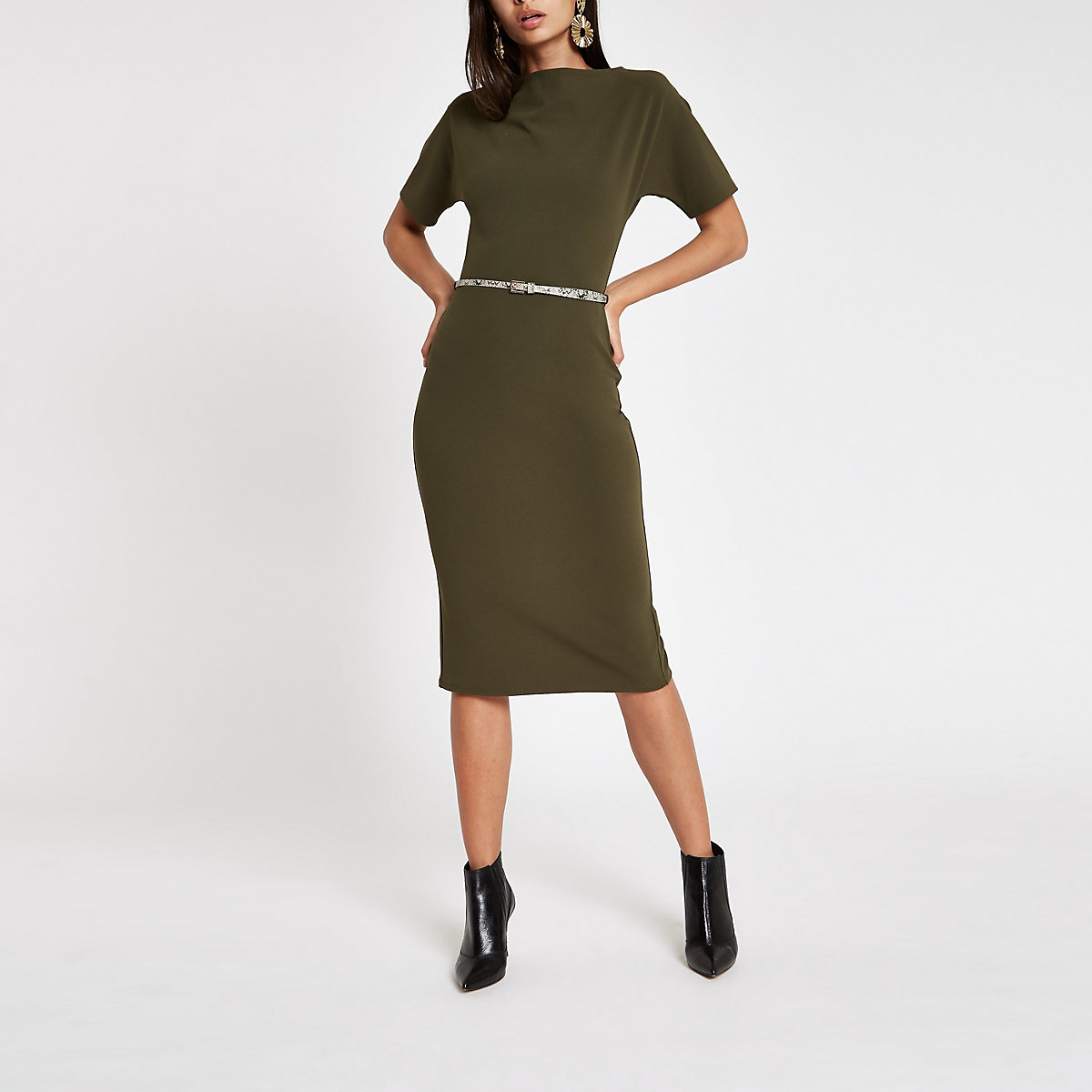 Dark green boat neck bodycon dress