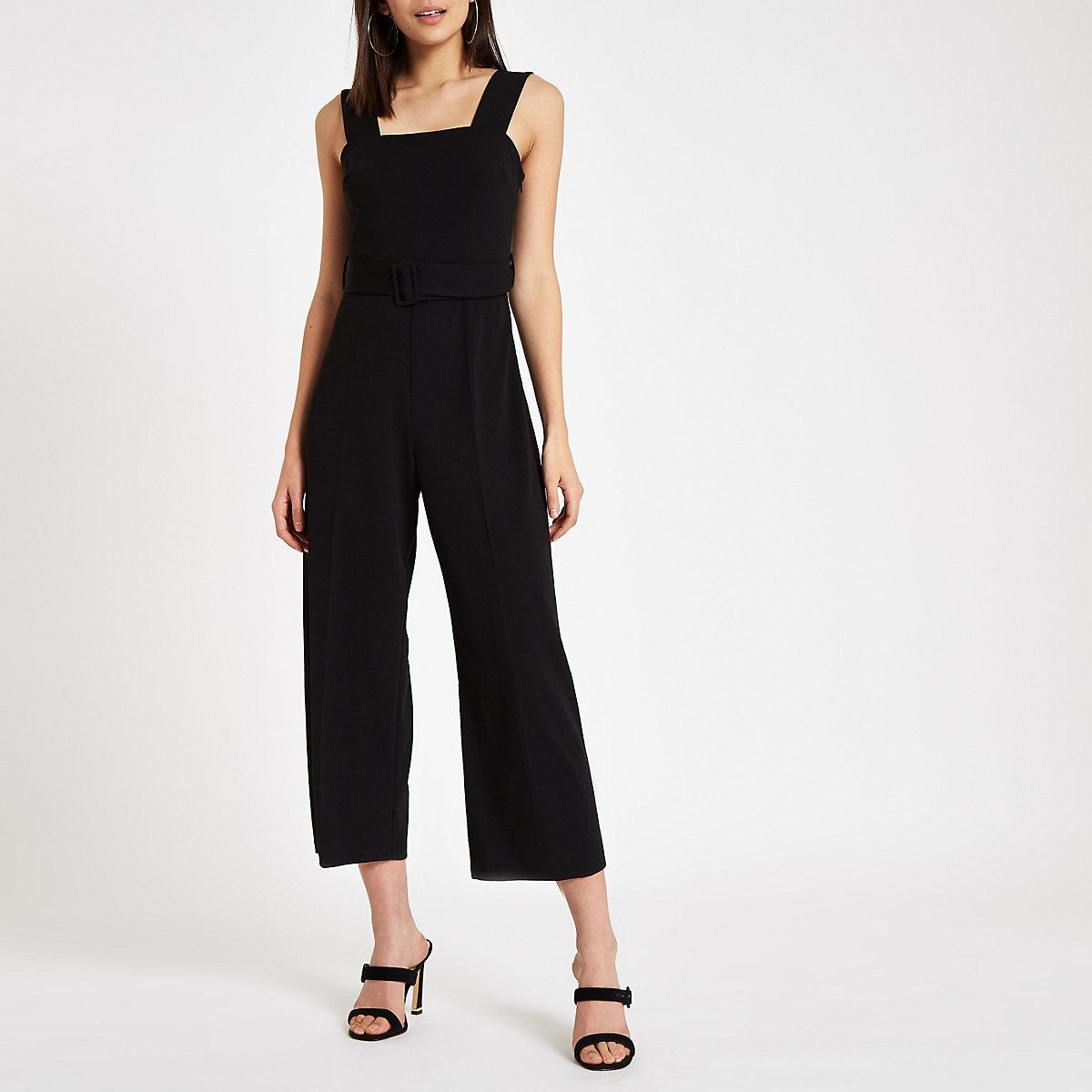 b2bcc8d14bfa Black square neck belted wide leg jumpsuit - Jumpsuits - Playsuits ...