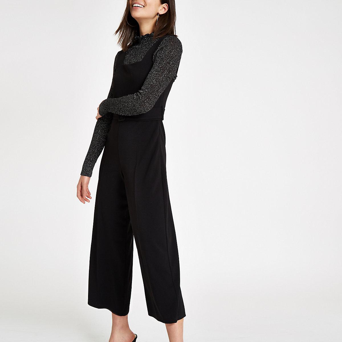 Black square neck belted wide leg jumpsuit