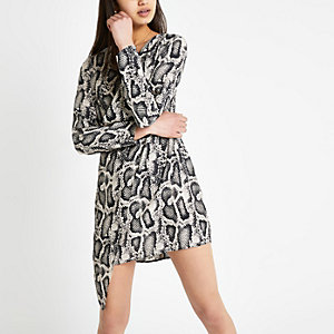 Grey snake print wrap front swing dress