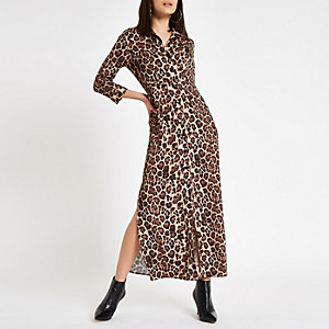 Brown leopard print maxi shirt dress