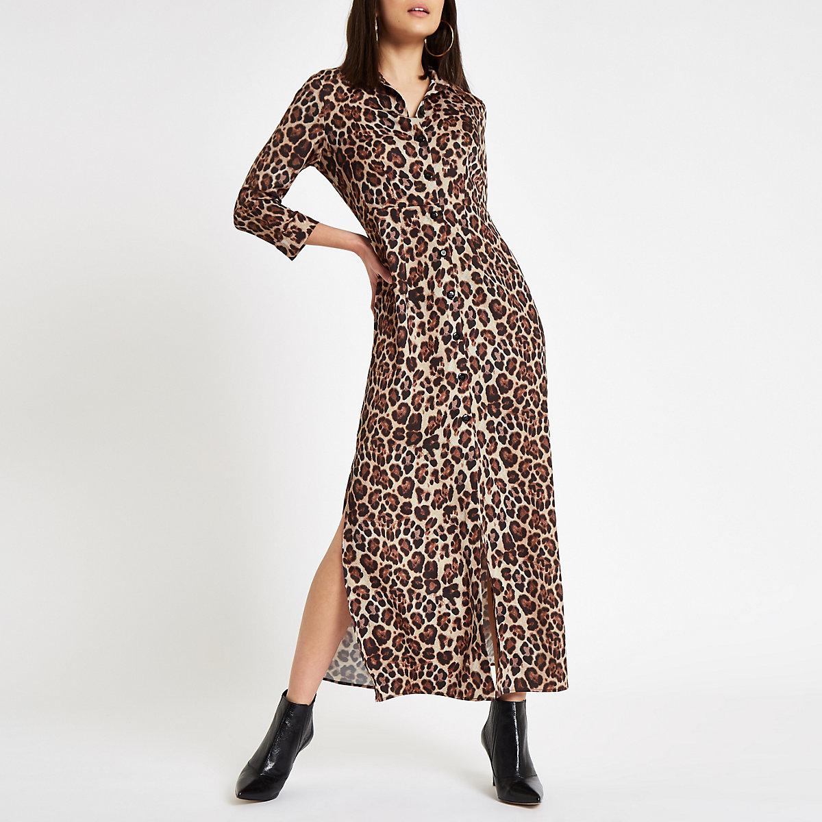 Brown leopard print maxi shirt dress