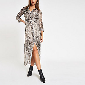 Grey snake print maxi shirt dress