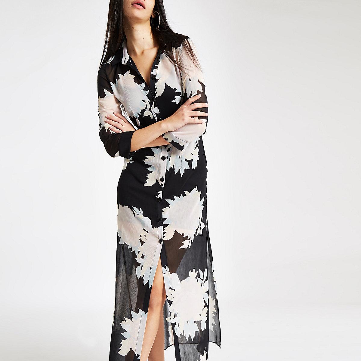Black floral print button-up maxi shirt dress