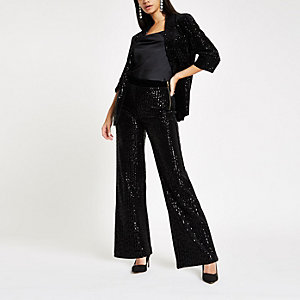 Black velvet sequin wide leg trousers