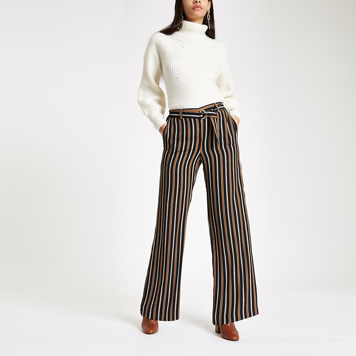 Navy stripe wide leg belted trousers