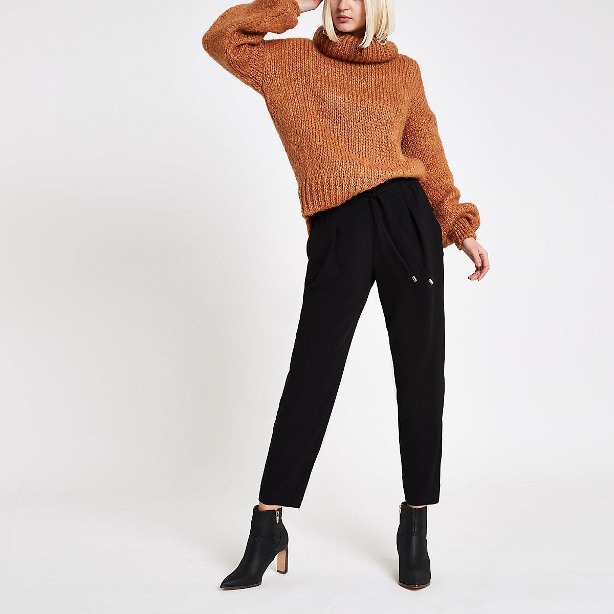 Black drawstring waist straight leg pants