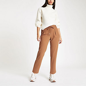 Pantalon droit marron clair