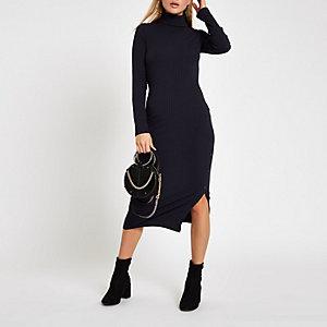Marineblauwe geribbelde midi-jurk met col en knopen opzij
