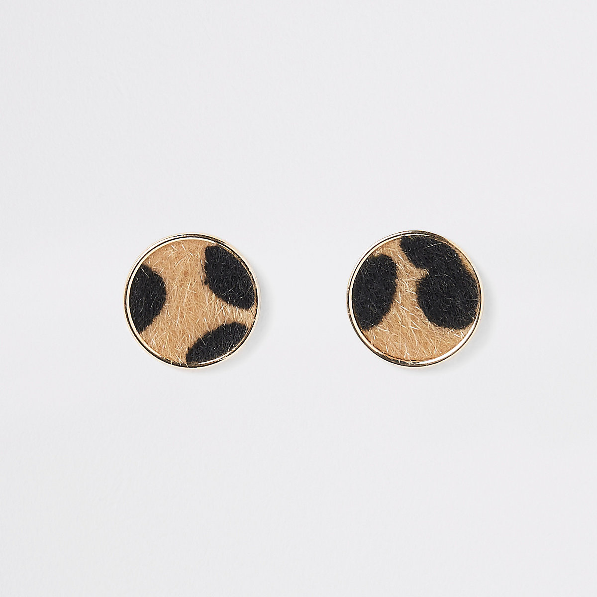 Leopard print round stud earrings