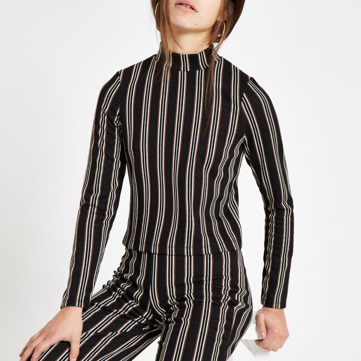 Petite black stripe high neck top