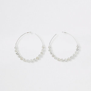 Silver tone jewel cluster hoop earrings