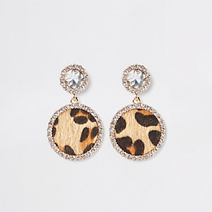 Gold leopard print diamante drop earrings
